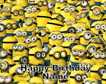 Minions Edible Image Cake Topper Personalized Birthday 1/4 Sheet