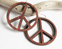 Peace Sign Wood Hoop Earrings, Bohemian Earrings, Laser Cut Earrings, Lacewood Hoop Earrings, Retro Look, Unique Gift, Vintage Earrings