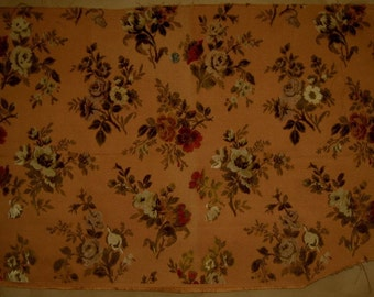Antique Beautiful 19th C. French Silk Chenille on Silk Woven Fabric (9302)