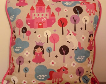 Pink princess, unicorn and castle cushion