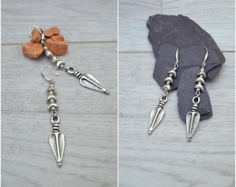 Antique silver arrowhead earrings, 925 Silver dangle earrings, boho free people  earrings, tribal ethnic gypsy earrings, 925 silver jewelry