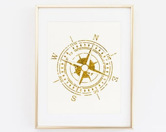 Nautical Compass Gold Foil Print, Printable Art, Golden Compass Print, Maritime Print, Beach House Decor, Gold Wall Art, North, South, West