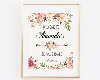 Custom Welcome Sign, ANY SIZE, Bridal Shower Welcome Sign Print, Printable Bridal Shower Sign, Welcome to Bridal Shower, Floral Welcome Sign