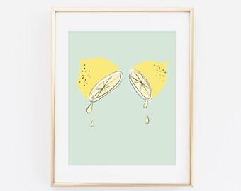 Lemons, Summer Print, Fruit Art Print, Printable Wall art, Lemon, Citron, Art, Fruit Art Print, Summer vibe Poster, Summer wall art