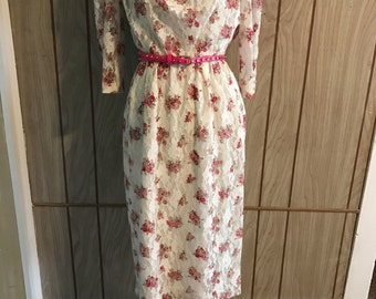 Vintage floral and lace cowl neck dress - s/m