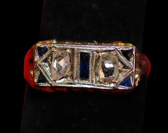 18K White Gold Diamonds and Sapphires Ring