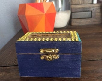 Wood box,  Navy blue and aqua/turquoise box, trinket box, jewelry box, storage, stocking stuffer, wedding, gifts for her