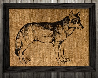 Wolf print Animal art Wildlife poster Burlap print BLP334