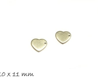 10 PCs pendant heart stainless steel stamp plates