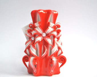 Coral candle Carved candles gift housewarming hand carving red candles birthday present Beautiful candles excellent candle unique gift