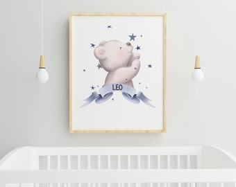 Personalised Bear, Nursery wall art, Pink, Blue