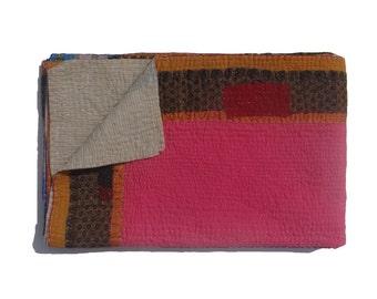 Indian Reversible Kantha Quilt  Kantha Handmade Throw Cotton Thread Stich Kantha Sari Quilt