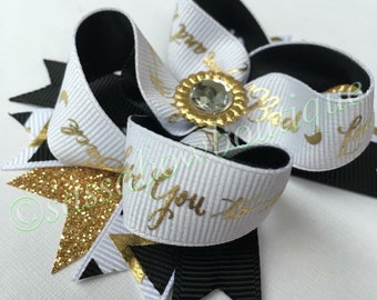 """Black and Gold boutique bow - """"I love you to the moon and back"""" - boutique bow"""