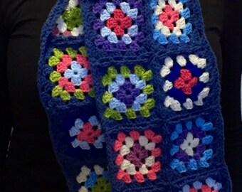 Granny square scarf - crochet - crochet - colors