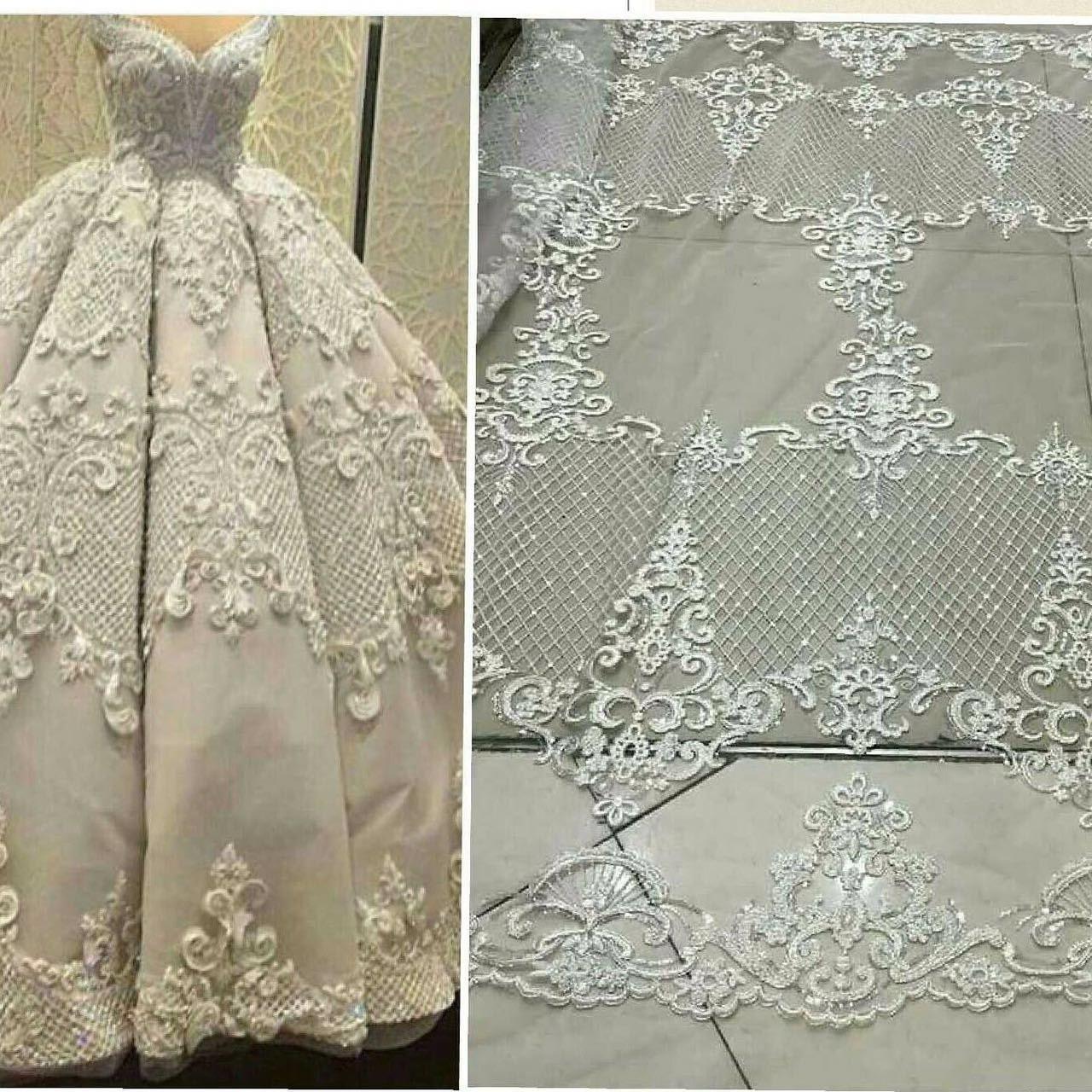 Wedding Gown Fabrics Guide: Elegent Tulle Lace Bridal Lace Fabric Fashion Wedding