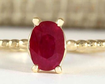 0.80CTW Natural Ruby Ring in 14k Yellow Gold
