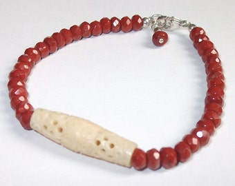 Red Jasper & Bone Beaded Bracelet