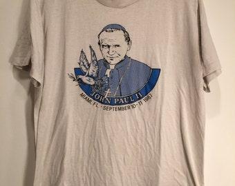 Pope John Paul II 50/50 1980s Vintage Tee