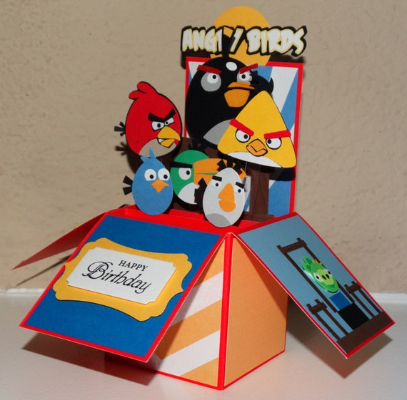 Angry Birds Happy Birthday Red Handmade 3D Pop Up Greeting