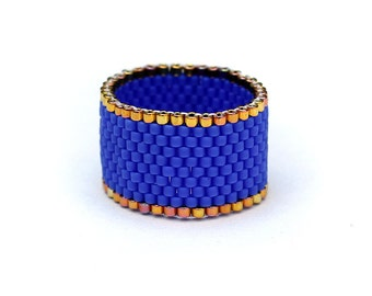 Wide blue and gold womens ring Dark blue band ring for women Size 4 ring Size 10 ring Bohemian ring Wide band ring Modern ring Peyote ring