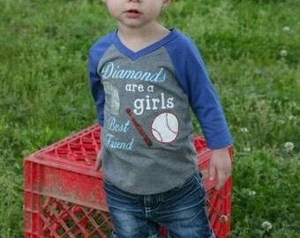 Diamonds are a girls best friend raglan