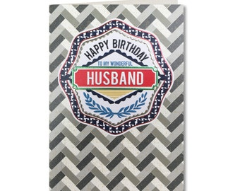 Geo - Happy Birthday Husband - Birthday Card - Husband Birthday Card - Husband - Husband Greeting Card