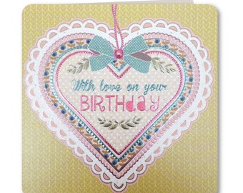 Birthday Card - Happy Birthday - With love on your Birthday - Birthday Card for Her - Birthday Greeting Card