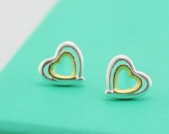 Heart stud earrings, sterling silver heart earrings, tiny heart stud earrings, tiny heart earrings, little heart stud earrings, little heart