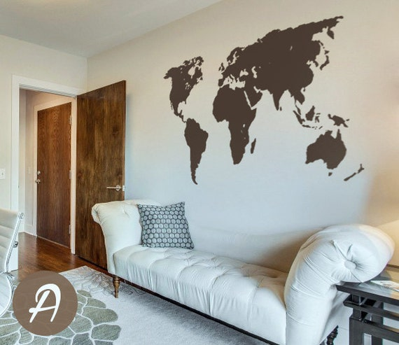 World map decal temporary wall decor office wall decal world like this item sciox Gallery