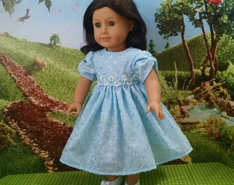 For American Girl Dolls and Other 18 inch dolls! Pretty Blue Eyelet Dress.