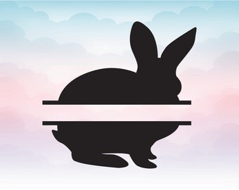 Easter Bunny Split Monogram SVG Svg Rabbit Vector File Instant Download