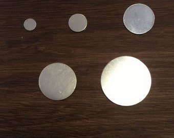 10 pieces of 3/8 in (.952 cm) sterling silver round blank disc gauge 24