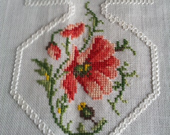 Floral Cross Stitch embroidered Tablecloth.Swedish vintage.Home Decor.