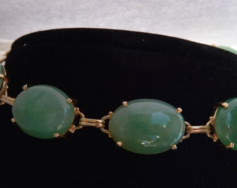 Bracelet 14 k gold and Jade - Gold Bracelet jade healing properties
