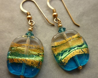 Murano glass earrings, pale blue & pale topaz glass with gold foil. Gold filled ear wires.