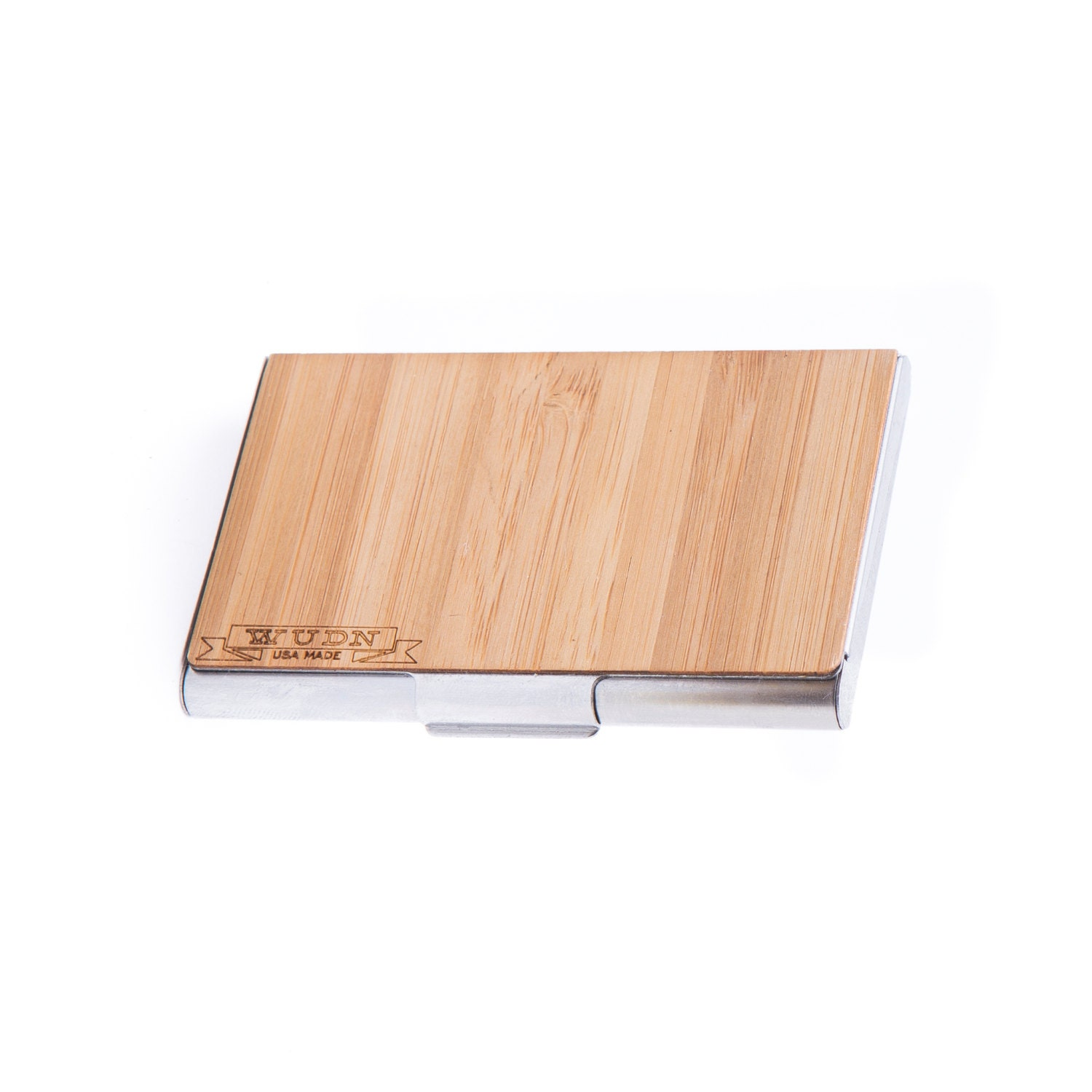 Bamboo wood business card holder father day gift by shopwudn for Bamboo business card holder