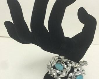 "Handmade Cuff Bracelet Turquoise Beads Aluminum Wrapped 12"""
