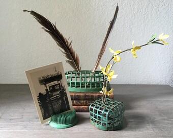 Vintage set of 3 green Metal Floral Arrangement Frog Cage, Flower Arrangement Frog,Vintage Frog