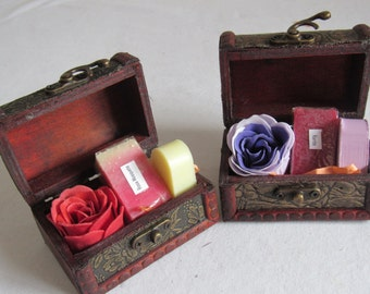 Wooden chest with natural soap gift