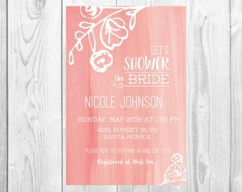 Printable Painted Bridal Shower Invitation