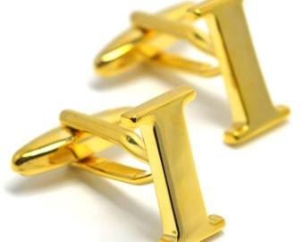 Gold Letters I Initial Cufflinks Initials Cufflink Set - FREE Elegant Box