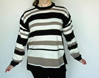 80s Oversized Sweater White/Black/Gold Striped Medium Large