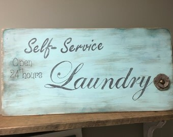 Painted wood Vintage inspired laundry room sign