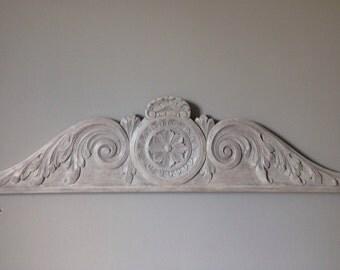 Rare, Pediment of former french Cabinet, rosette and arabesques, white white