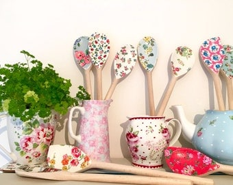Set of 3 Gorgeous Shabby Chic Vintage Wooden Spoons - Decoupaged with Genuine Cath Kidston Tissue