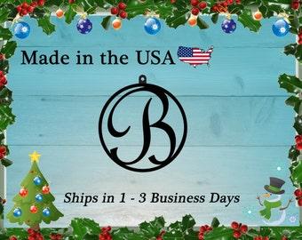 "3"" Monogram Christmas Ornament, Christmas Present, Ornament, Personalized Gift, Tree Decoration, Christmas Decoration, Holiday Decor, RO1001"