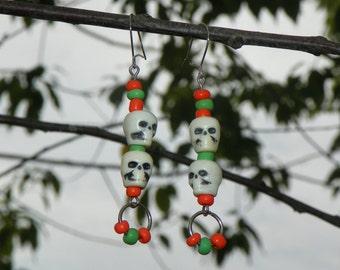 Beaded Dangle Earrings With Skulls On Silver Toned Settings, Hook Earrings, Colorful & Unique