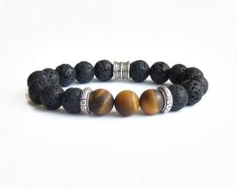 Tigers eye bracelet, Matte tigers eye bracelet, Black lava men women bracelet, Gemstone bracelet