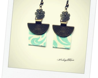 original earrings, blue and white fabric