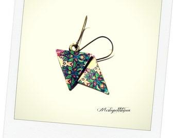Earrings triangles original mandala, sleepers